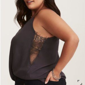 Torrid Lace Inset Cami Top in Gray